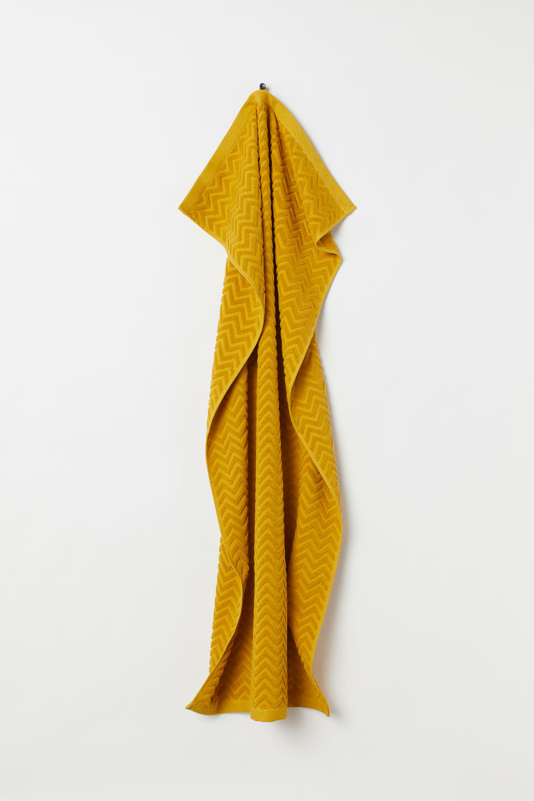 Jacquard-patterned bath towel - Mustard yellow - Home All | H&M GB
