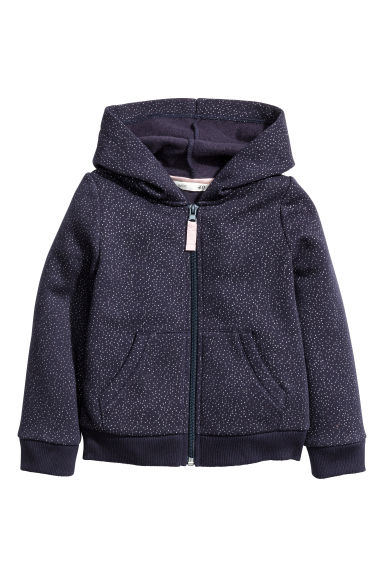 Hooded jacket - Dark blue/Glittery - Kids | H&M
