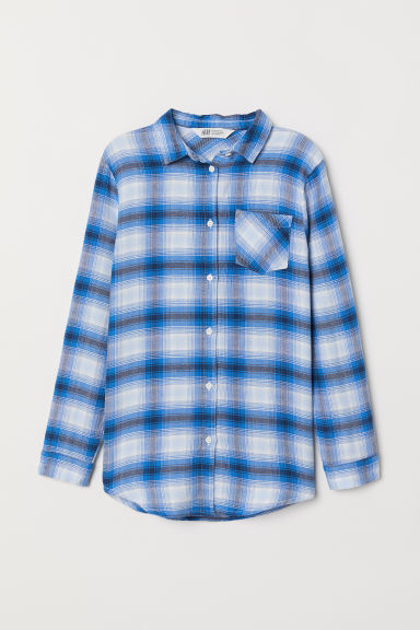 Flannel shirt - Blue/White checked - Kids | H&M