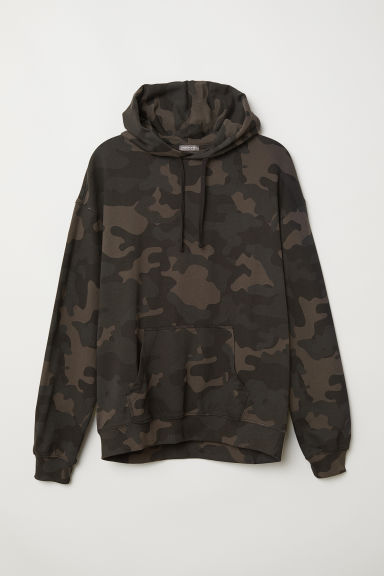 Hooded top - Khaki green/Patterned - Men | H&M GB