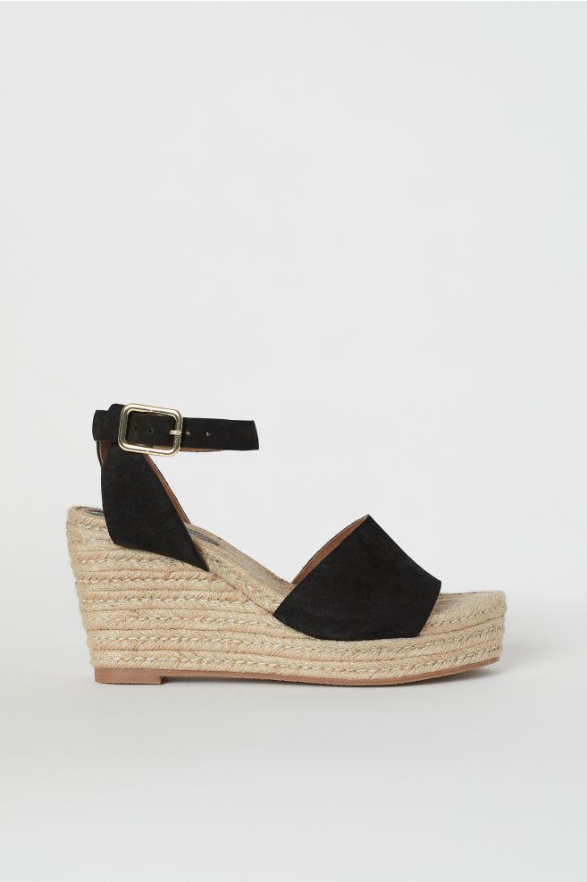 4e90053477 Satin Platform Sandals - Black - Ladies | H&M ...