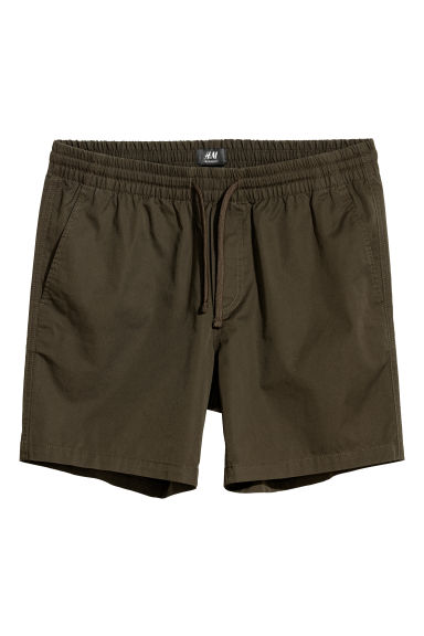 Cotton shorts Relaxed fit - Dark khaki green - Men | H&M GB