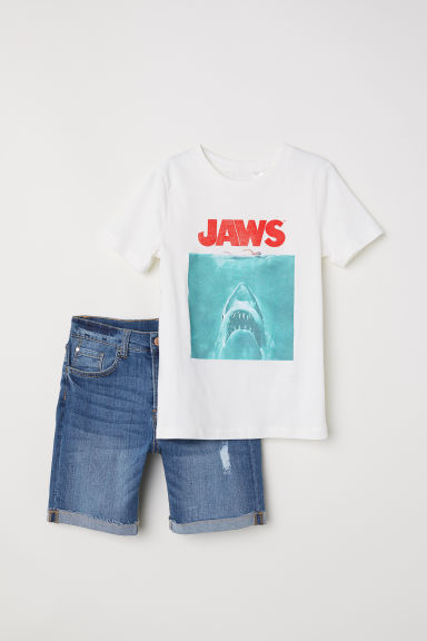 T-shirt and denim shorts - White/Jaws - Kids | H&M IE