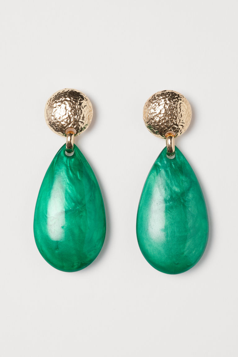 Long clip earrings - Gold-coloured/Green - Ladies | H&M GB