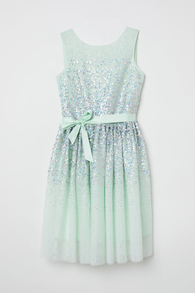 Tulle dress with sequins - Mint green/Silver-coloured - Kids | H&M