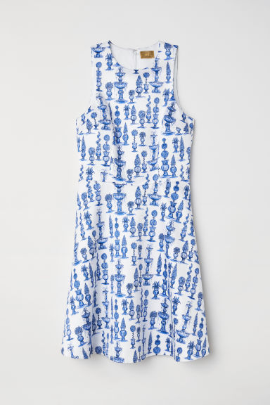 Patterned satin dress - White/Blue patterned - Ladies | H&M