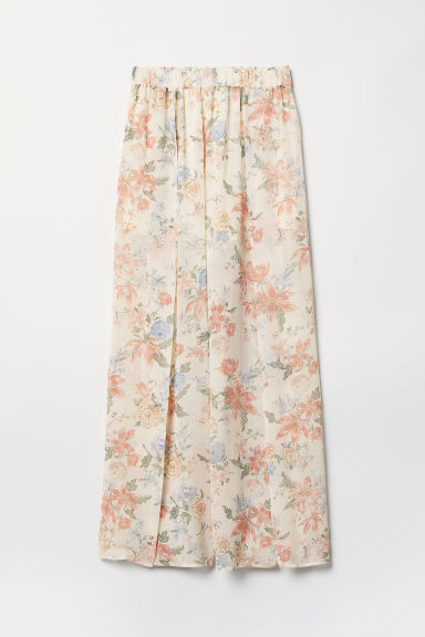 Wide trousers with slits - Natural white/Floral - Ladies | H&M