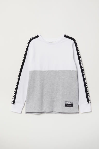 Jersey top with a print motif - Grey marl/Block-coloured - Kids | H&M