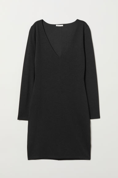 V-neck jersey dress - Black - Ladies | H&M