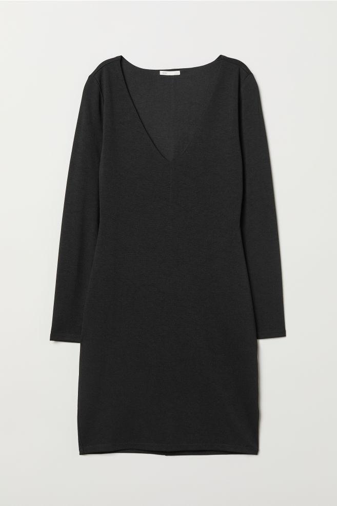 4e13fc6d9c8 V-neck Jersey Dress - Black - Ladies