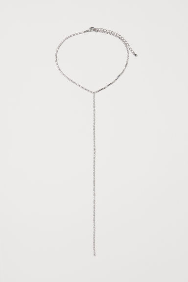 Short sparkly stone necklace - Silver-coloured -  | H&M