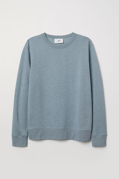 Silk-blend Sweatshirt - Light blue melange - Men | H&M CA