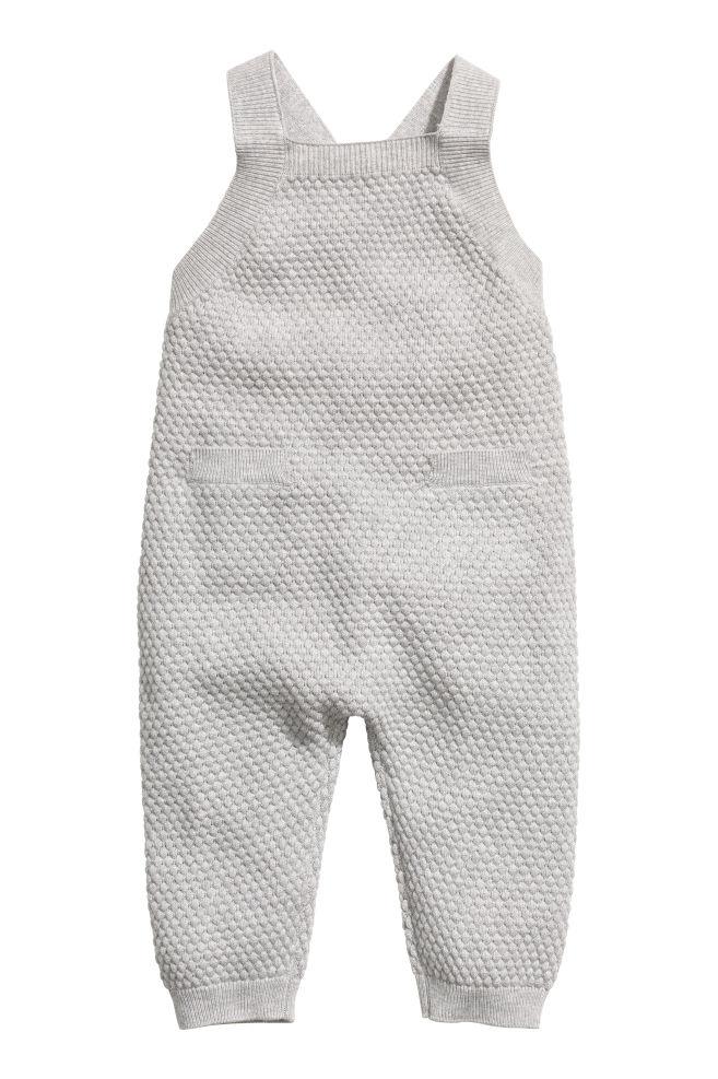 0744cf506 Textured-knit romper suit - Light grey - Kids