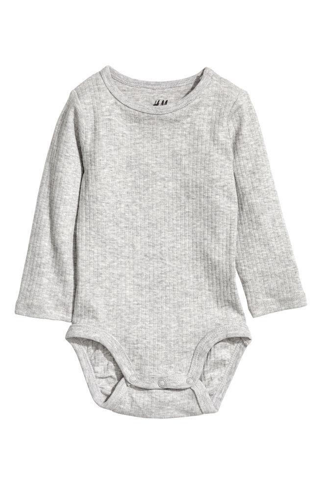 61cf3af24174 Ribbed bodysuit - Light grey - Kids | H&M ...