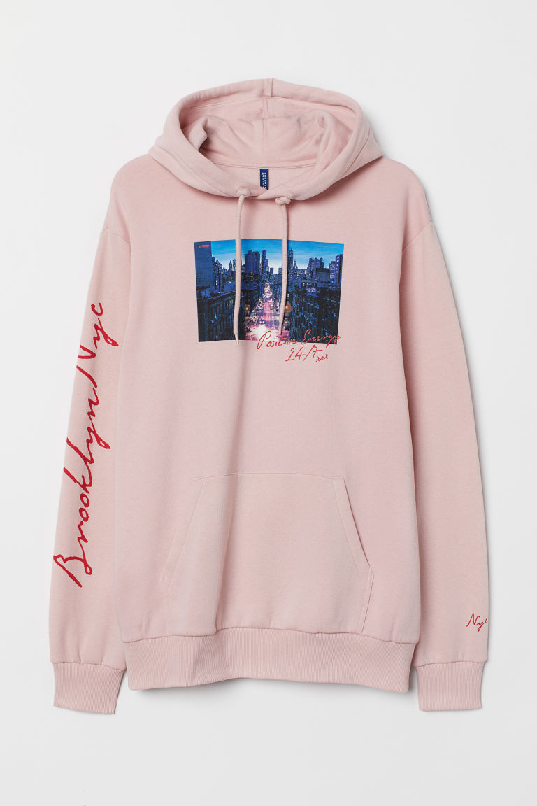 Hooded top - Pink/Brooklyn NYC - Men | H&M IE