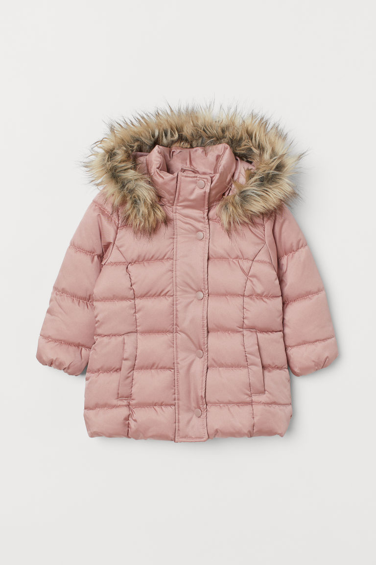 Padded hooded jacket - Powder pink - Kids | H&M