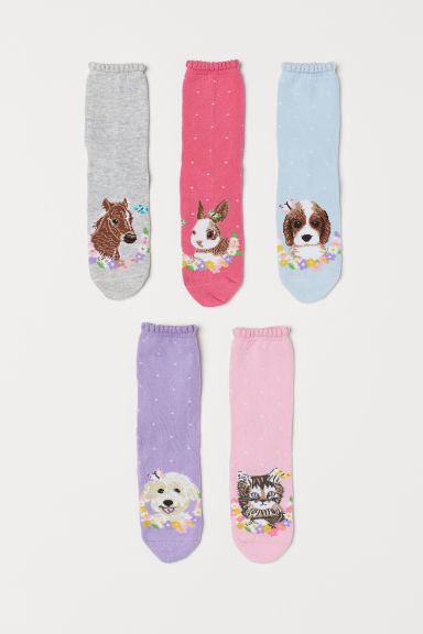 5-pack socks - Purple/Animals - Kids | H&M