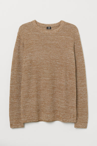 Textured-knit jumper - Brown marl - Men | H&M GB