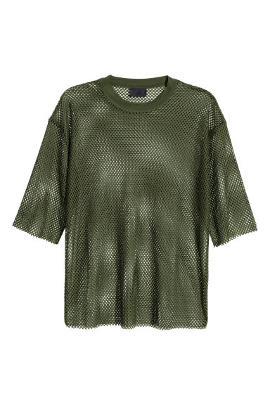 Mesh T-shirt - Dark green -  | H&M