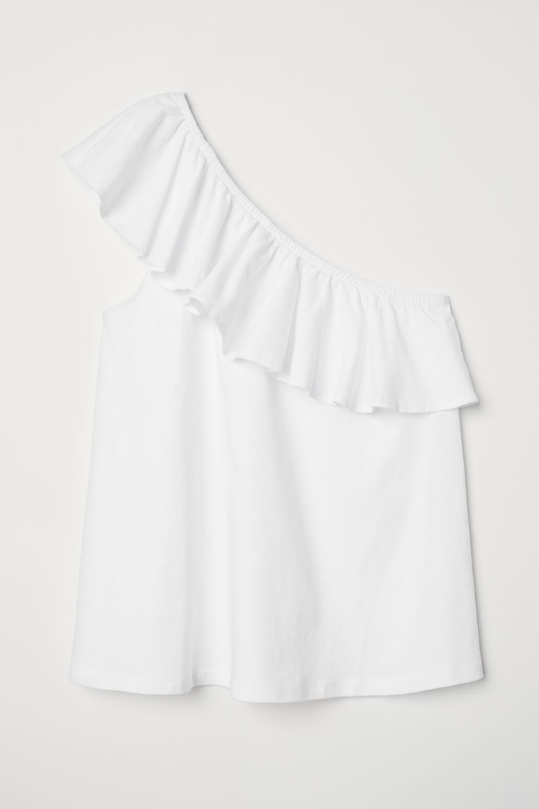 One-shoulder top - White - Ladies | H&M CN