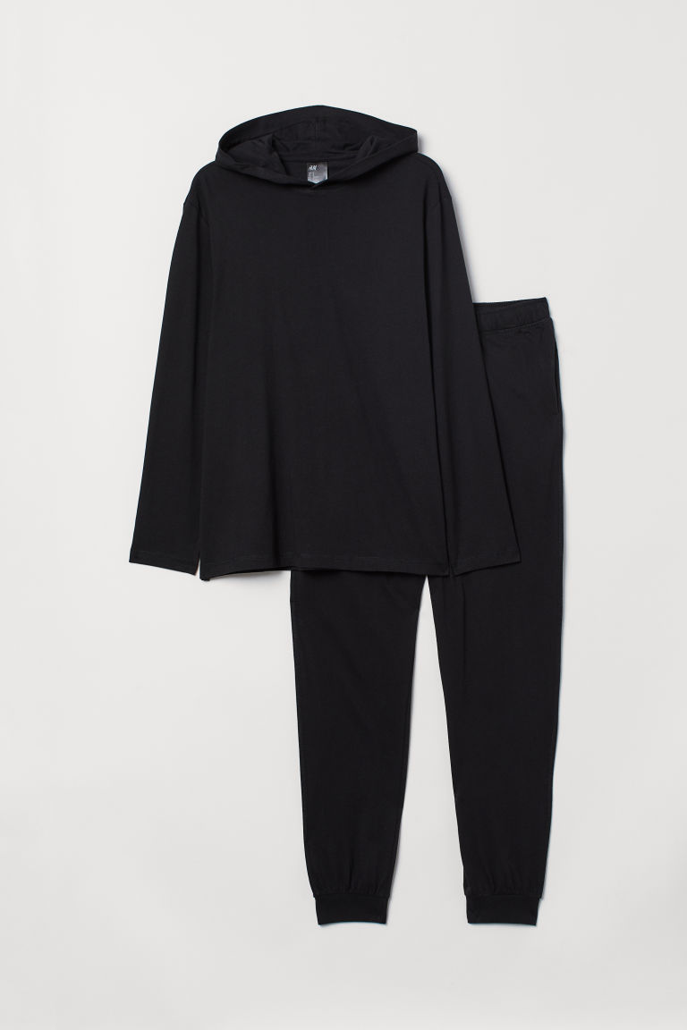Pyjamas with a hooded top - Black - Men | H&M
