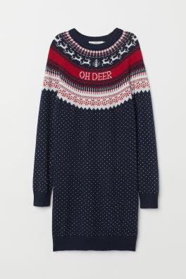 b028b79f9e8 Dark red · Jacquard-knit Dress