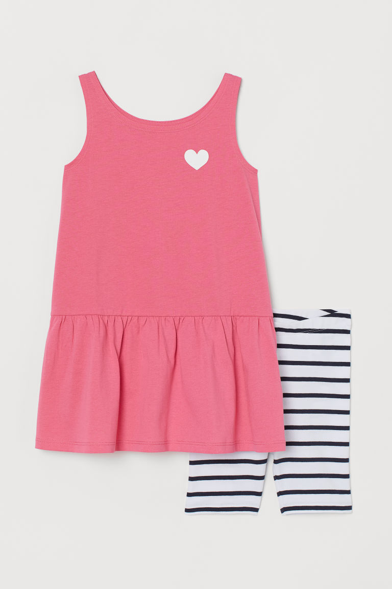 Dress and cycling shorts - Pink/Striped - Kids | H&M