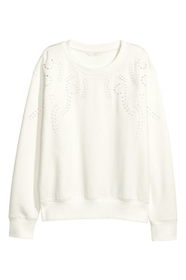 Short sweatshirt - White/Embroidery -  | H&M