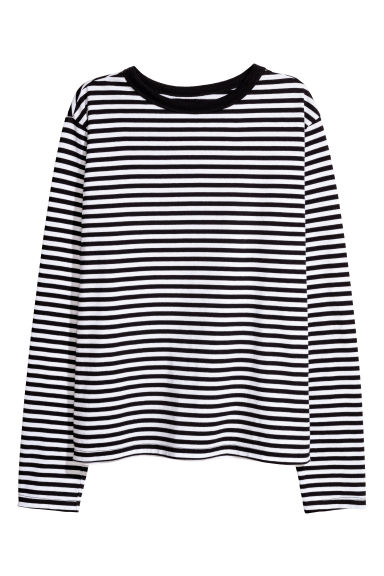 Striped jersey top - Black/White striped -  | H&M