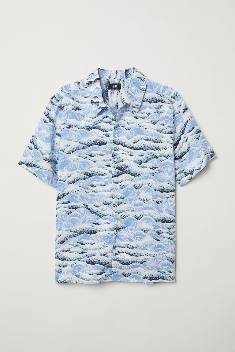 Lyocell shirt Regular Fit - Light blue/Waves - Men | H&M CN