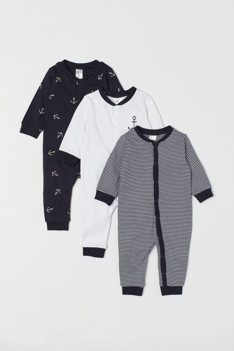 3-pack Cotton Jumpsuits - White/anchors -  | H&M US