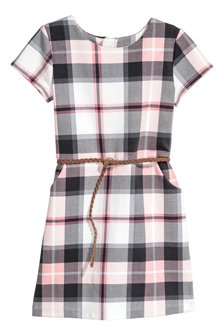 Jersey dress with a belt - White/Pink checked - Kids | H&M CN
