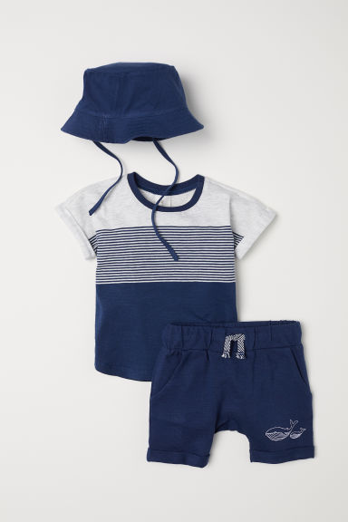 3-piece jersey set - Dark blue - Kids | H&M CN