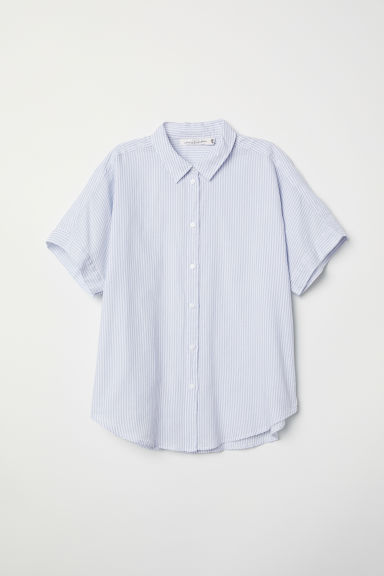 Short-sleeved cotton shirt - Light blue/White striped - Ladies | H&M