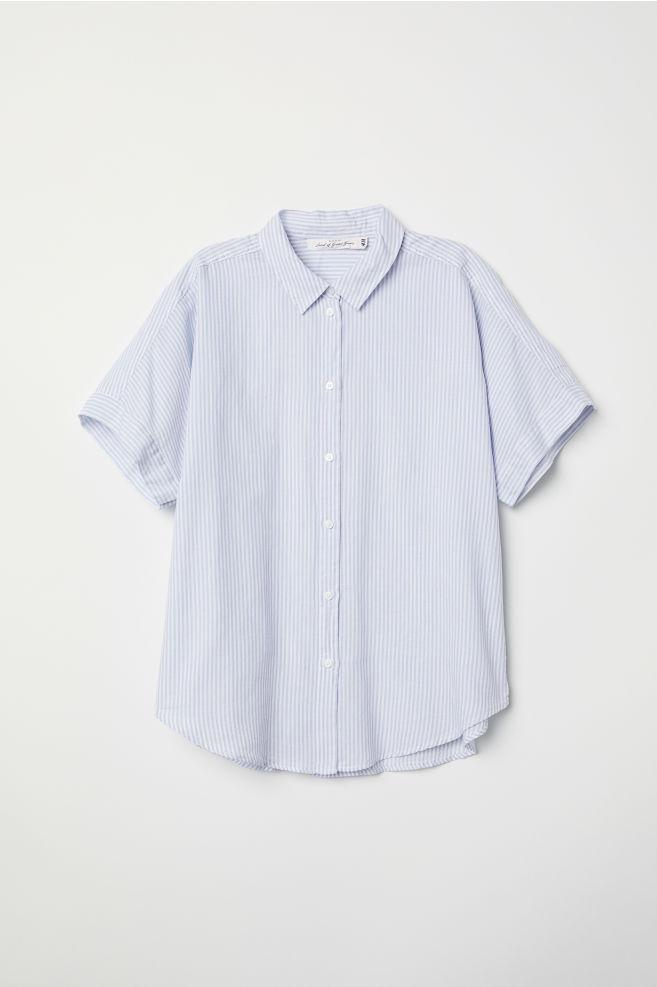 a20c24f5 Short-sleeved Cotton Shirt - Light blue/white striped - | H&M ...