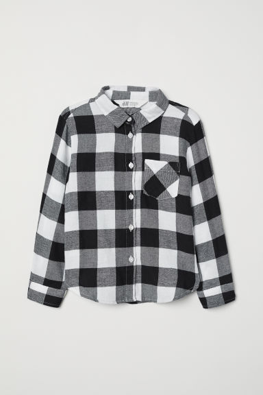 Cotton shirt - White/Black checked - Kids | H&M