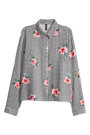 Patterned viscose shirt - Black/White checked - Ladies | H&M CN