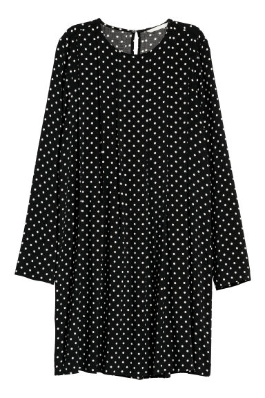 Dress with pleats - Black/Spotted -  | H&M CN