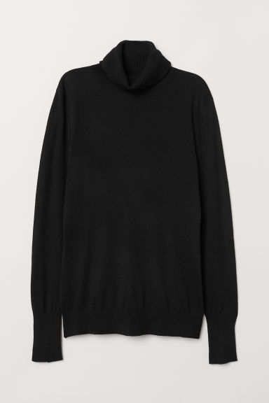 Fine-knit Turtleneck Sweater - Black - Ladies | H&M CA