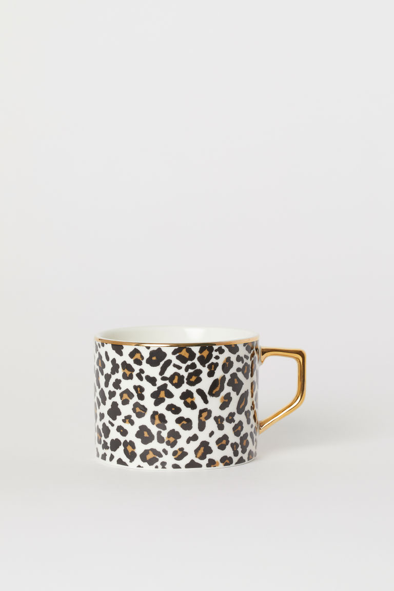 Porcelain cup - White/Leopard print - Home All | H&M GB