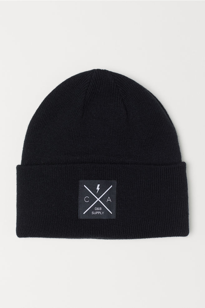Fine-knit Hat - Black X -  1731f297478