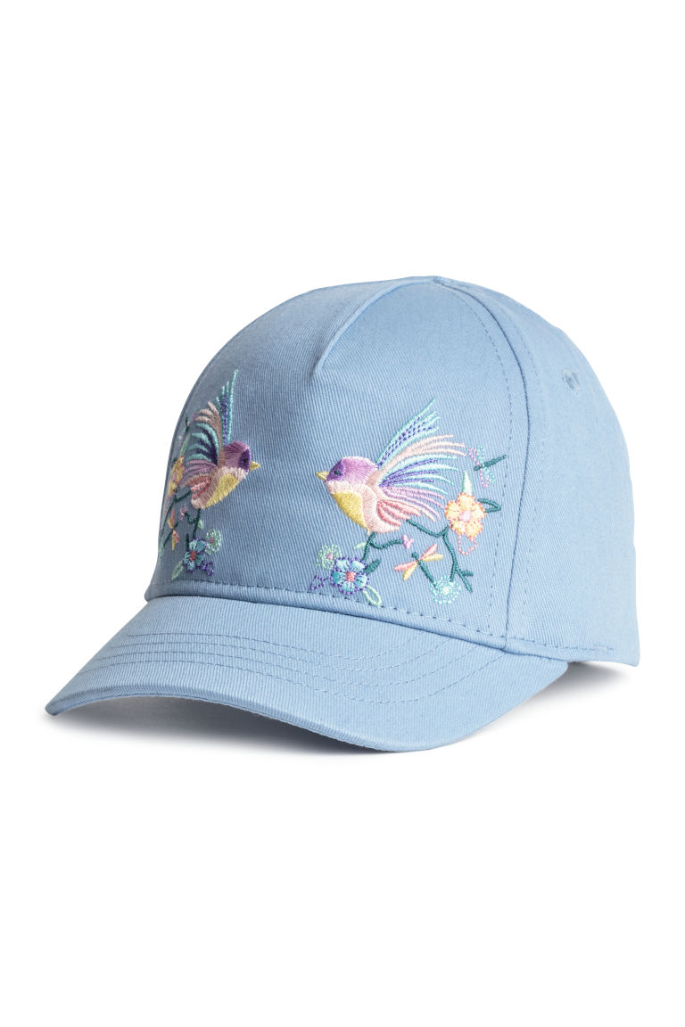 Cotton cap with embroidery - Light blue/Birds - Kids | H&M