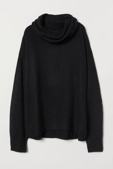 Knitted polo-neck jumper - Black - Ladies | H&M CN