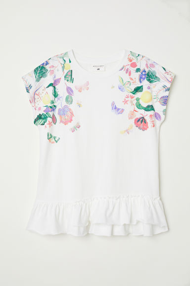 Short-sleeved flounced top - White/Floral - Kids | H&M
