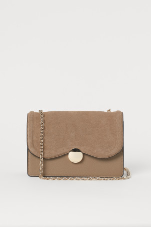 Suede-detail Shoulder Bag