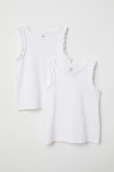 2-pack frilled vest tops - White - Kids | H&M CN