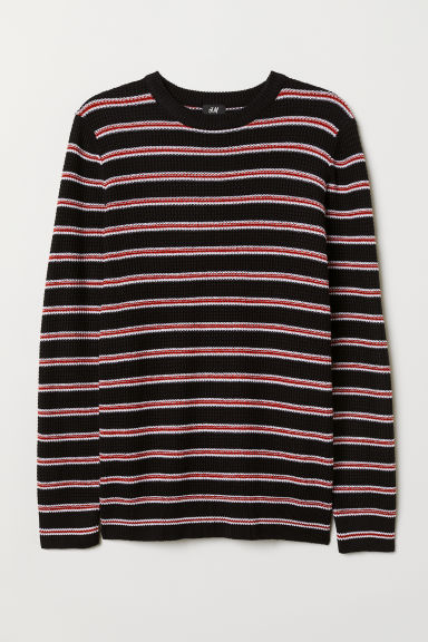 Textured-knit jumper - Dark blue/Striped - Men | H&M GB