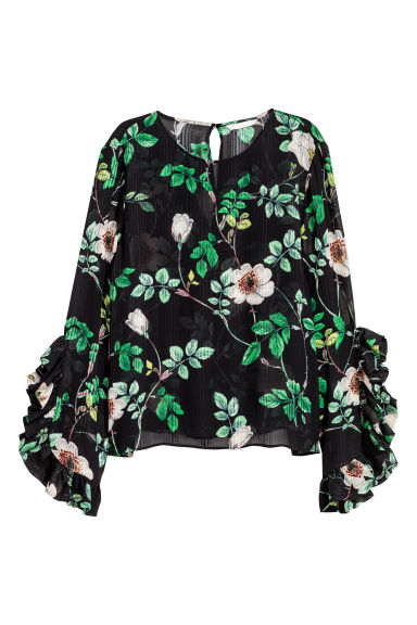 Blouse - Black/Floral -  | H&M
