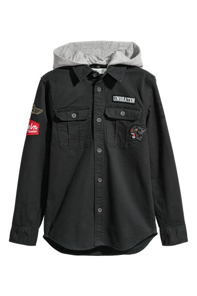 Twill hooded shirt - Black - Kids | H&M CN
