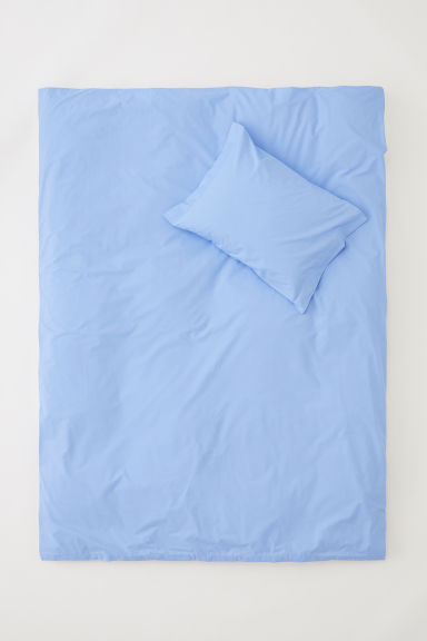 Cotton percale duvet cover set - Light blue - Home All | H&M CN